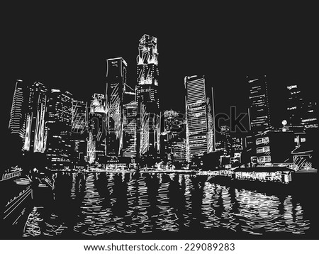 Singapore skyline at night. View from river side. Hand drawn - stock vector