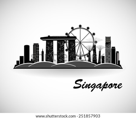 Singapore Skyline. City silhouette - stock vector