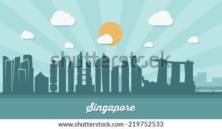 Singapore skyline - flat design - vector illustration - stock vector