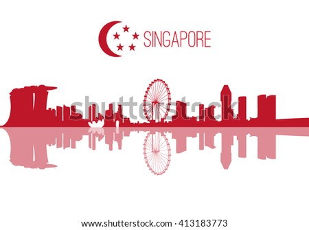 Singapore skyline red and white flat concept - stock vector