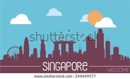 Singapore skyline silhouette flat design vector illustration - stock vector