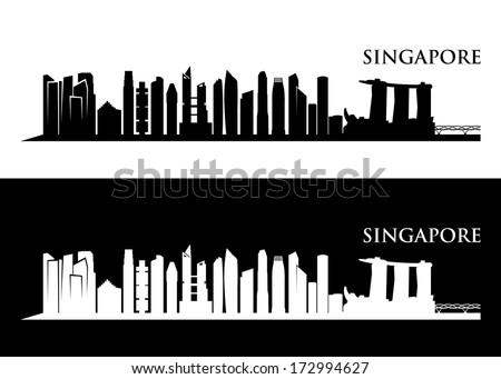 Singapore skyline - vector illustration - stock vector