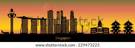singapore skyline with temple in chinese garden in evening - stock vector