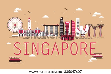 Singapore travel concept design with bay scene in flat design - stock vector