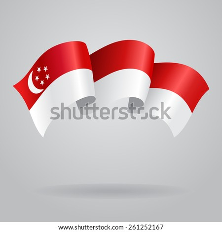 Singapore waving Flag. Vector illustration Eps 8. - stock vector