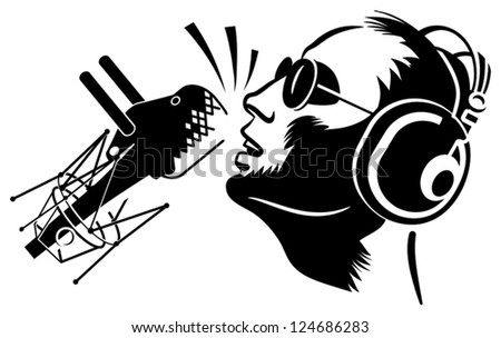 Singer with microphone black silhouette - stock vector