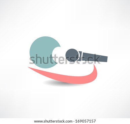 singer with microphone in hand abstraction icon - stock vector