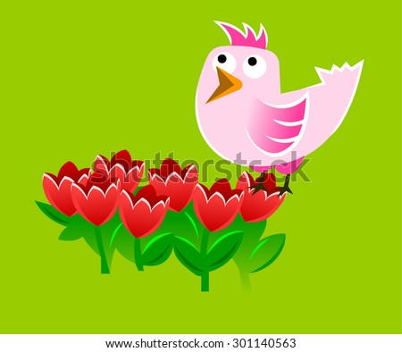 singing bird - stock vector