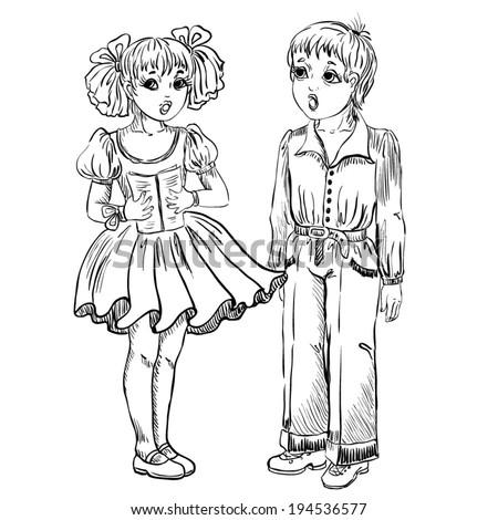 Singing children. Vector Outline sketch of boy and girl. - stock vector