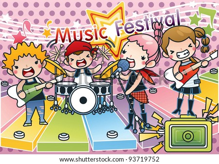 Singing Cute Young Children with Happy Music Festival - Rock & Roll Kids with various musical instruments on pink background with dot pattern : vector illustration - stock vector