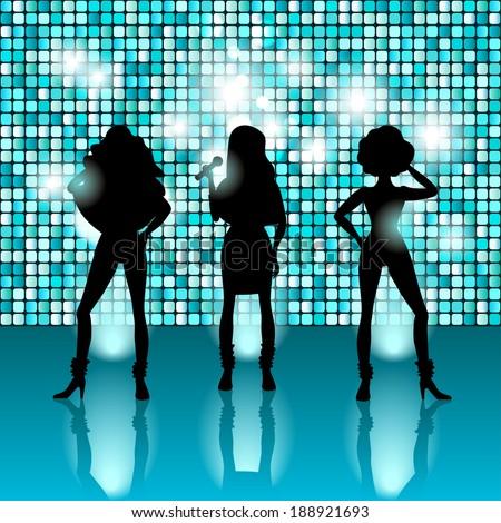 singing girls disco style - vector illustration. eps 10 - stock vector
