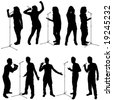 singing people vector - stock vector