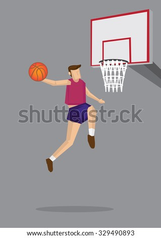 Single basketball player jumps up in the air to shoot. Vector cartoon illustration for slam dunk in action isolated on gray background. - stock vector