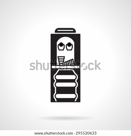 Single black flat vector icon for water cooler for purified bottled water on white background. - stock vector