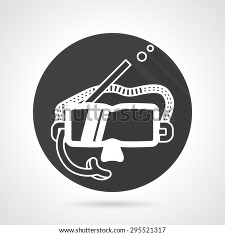 Single black round flat vector icon with white contour snorkeling mask with pipe on gray background. - stock vector