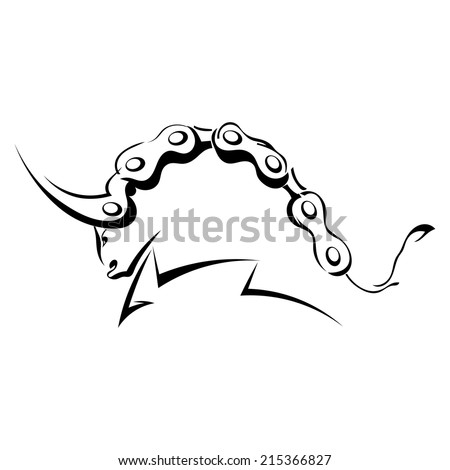 Single black silhouette of  a horned, angry bull on a white background. Bullfighting. Logo, trademark farm. Vector illustration. - stock vector