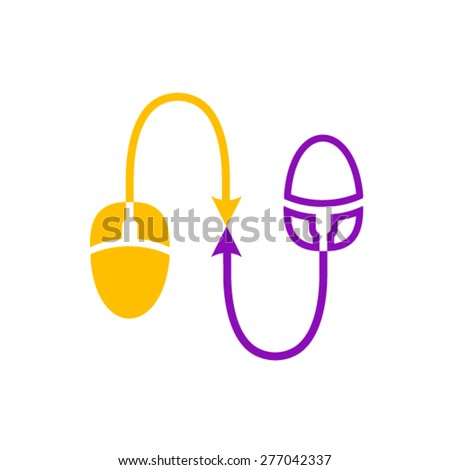 Single click simple connection logotype - stock vector
