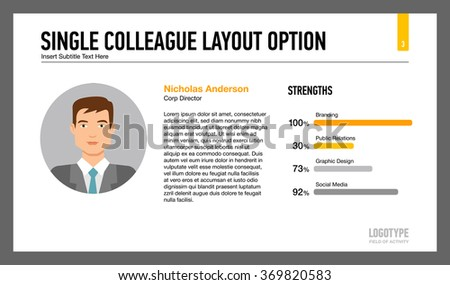 Single colleague layout option slide template - stock vector