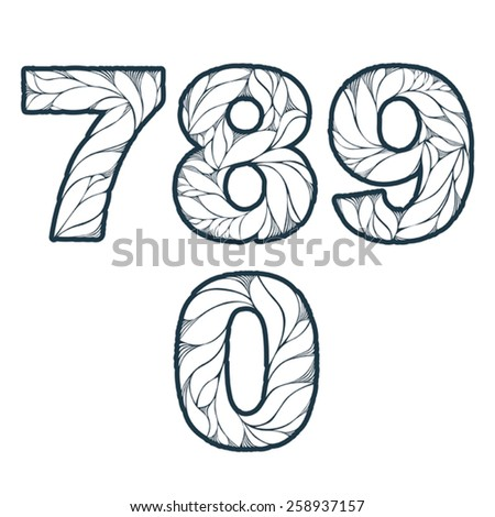 Single color ornate beautiful vector digits, numbers with eco floral ornament. 7, 8, 9, 0. - stock vector