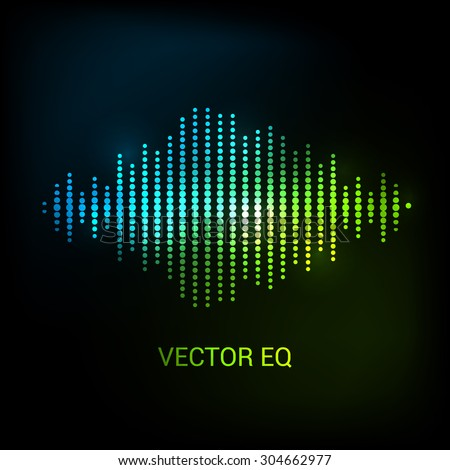 Single colorful eq, equalizer element isolated on dark background. Vector sound audio wave, frequency, melody, soundtrack in night for dance electronic disco music - stock vector