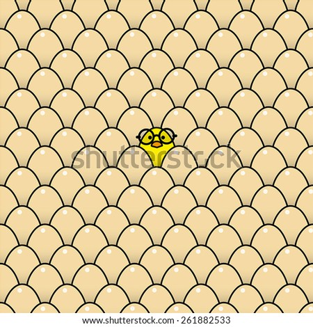 Single Cool Yellow Chick wearing Round Black Rimmed Glasses Surrounded by Identical Brown Eggs - stock vector