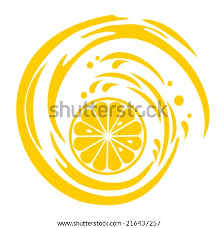 Single cross section of lemon. Isolated on white background. Close-up. Vector illustration - stock vector