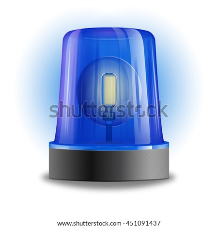 Single design element demonstrating blue flasher siren with spinning beacon for police cars ambulance or fire trucks vector illustration    - stock vector