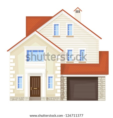 single family house , vector without gradient - stock vector
