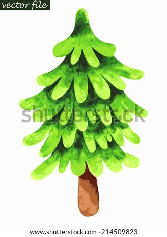 Single fir tree. Watercolor painting. Vector illustration - stock vector