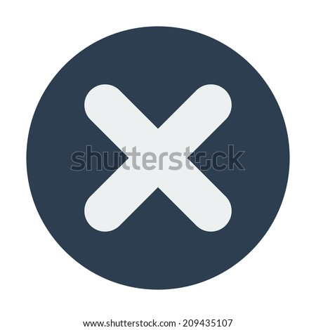 Single flat close\delete icon. Vector illustration, easy paste to any background - stock vector