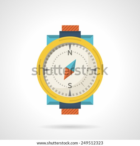 Single flat color icon for classic compass with yellow dial frame on white background.  - stock vector