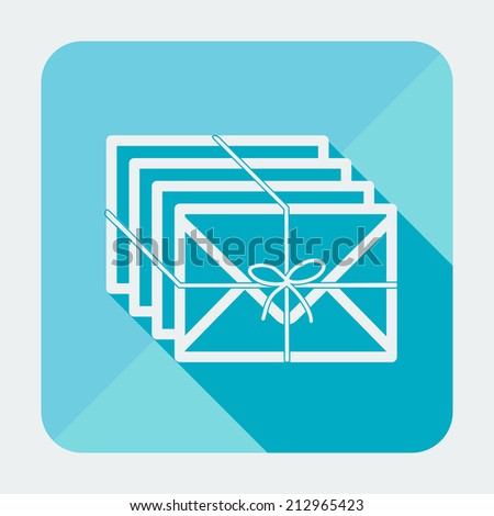 Single flat square icon with long shadow. Vector illustration, easy paste to any background. Mail icon. Few envelopes with ribbon. - stock vector