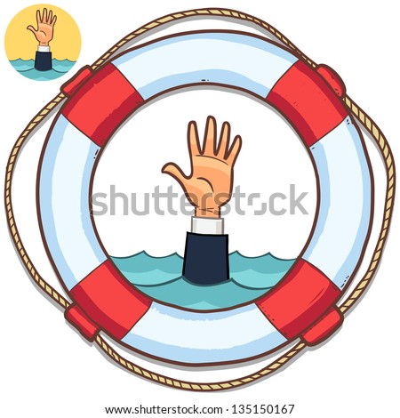 single hand of business man drowning in water and asking for help. life buoy isolated on white. business crash, businessman fail - stock vector