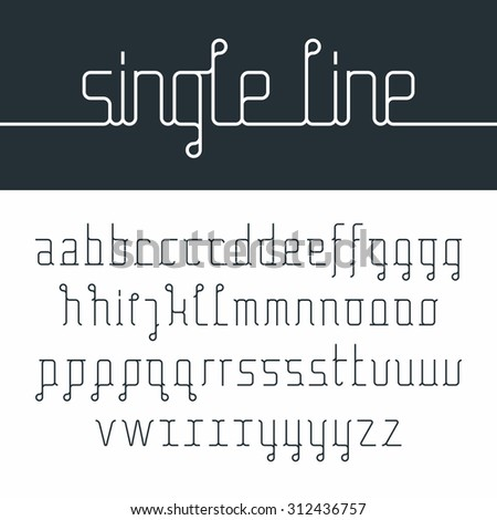 Single line font - stock vector