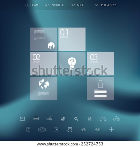 Single page website or infographics menu. Business icons in modern flat design. - stock vector