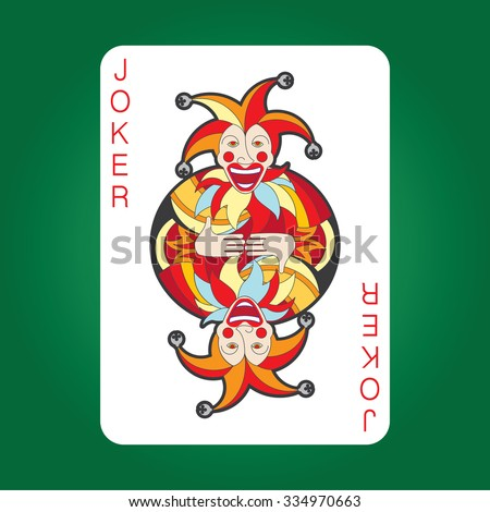 Single playing cards vector: Joker  - stock vector