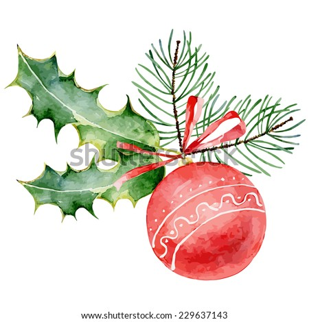 Single red decorated Christmas ball on white background. Vector  illustration - stock vector