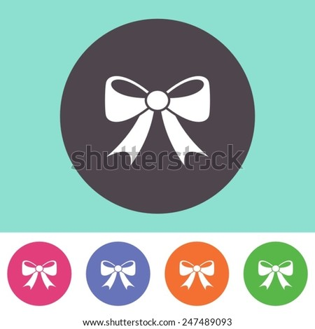 Single vector bow icon on round colorful buttons - stock vector