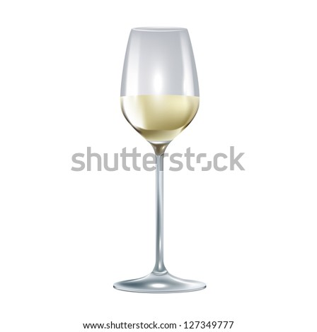 single wine glass isolated on white background - stock vector