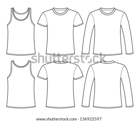 Singlet, T-shirt and Long-sleeved T-shirt template - stock vector