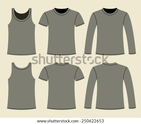 Singlet, T-shirt and Long-sleeved T-shirt template - front and back on light background   - stock vector