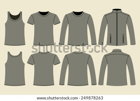 Singlet, T-shirt, Long-sleeved T-shirt and Jacket template - front and back on light background  - stock vector