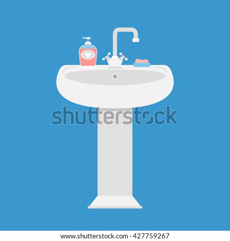 Sink in the bathroom for washing face and hands - stock vector