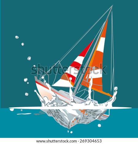 Sinking boat vector illustration - stock vector