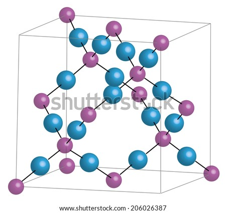 SiO2 - silicon dioxide - cristobalit/ crystal lattice - stock vector