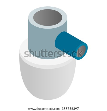 Siphon sink isometric 3d icon on a white background - stock vector
