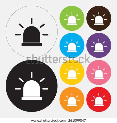 Siren icon, Police single flat icon - Vector - stock vector