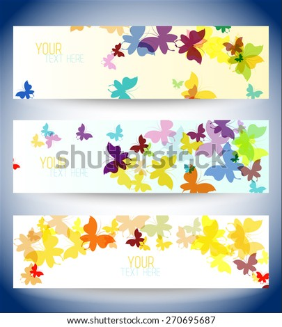 site banner, set concept with butterflies. vector illustration - stock vector