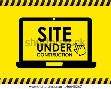 site under construction over yellow background vector illustration  - stock vector