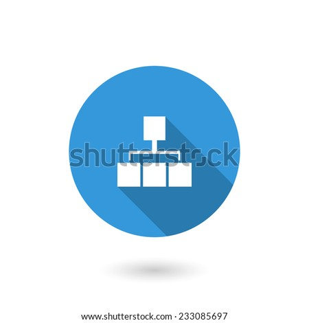 Sitemap icon. Flat design style modern vector illustration. Isolated on white color background. Flat long shadow icon. Elements in flat design - stock vector